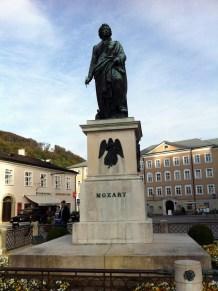 Mozart monument in Mozartplatz square.