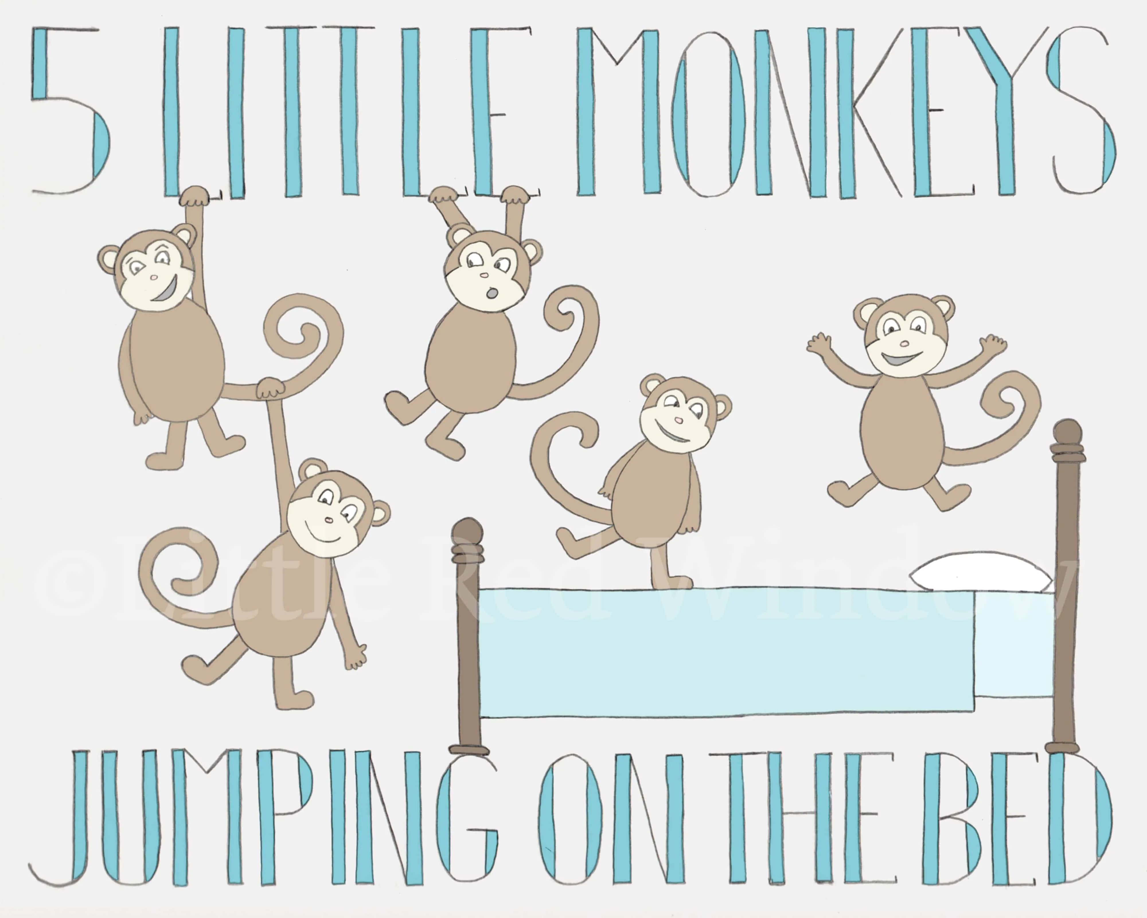 5 Monkeys Jumping On The Bed Printable Print Available On Etsy Littleredwindow