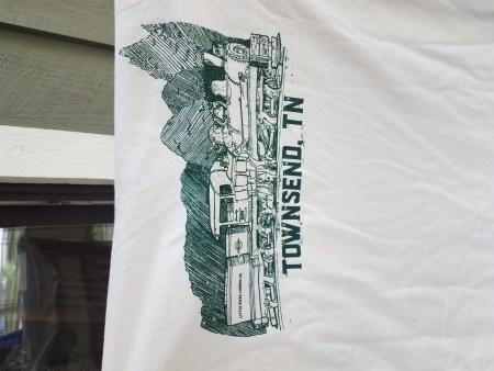 Train on back of logo t-shirt
