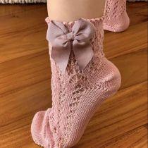 Șosete scurte roz pudră din tricot, fundă laterală, Condor