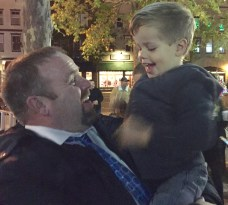 Cooper and his daddy at the tree lighting