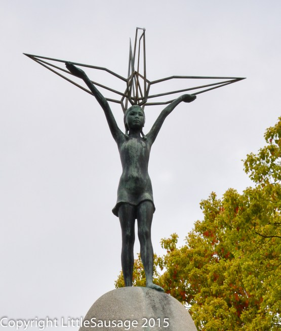The design of this monument is inspired by Sadako Sasaki who died of radiation poisoning some time after the bombing.