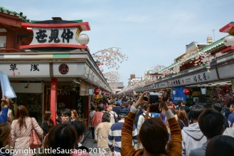 The main avenue of shops leading down to the temple.