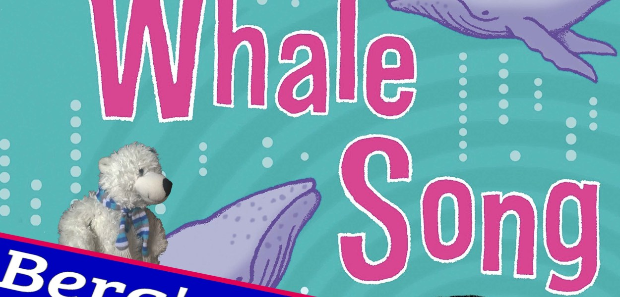Book cover to; the longest whale song by Jacqueline Wilson. Blue banner reads: Berg's book club. Berg sis on a whale.