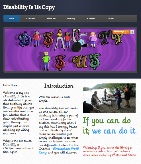 Image of Disability Is Us Website. A Purple banner with hard-to-read title. 3 columns and a photo of the author.