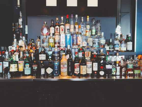 liquor bottles on shelf