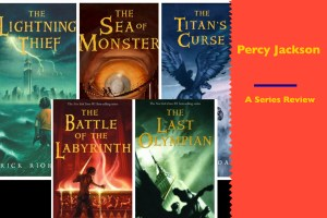 Percy Jackson Book covers with text explaining it is a review of the whole series