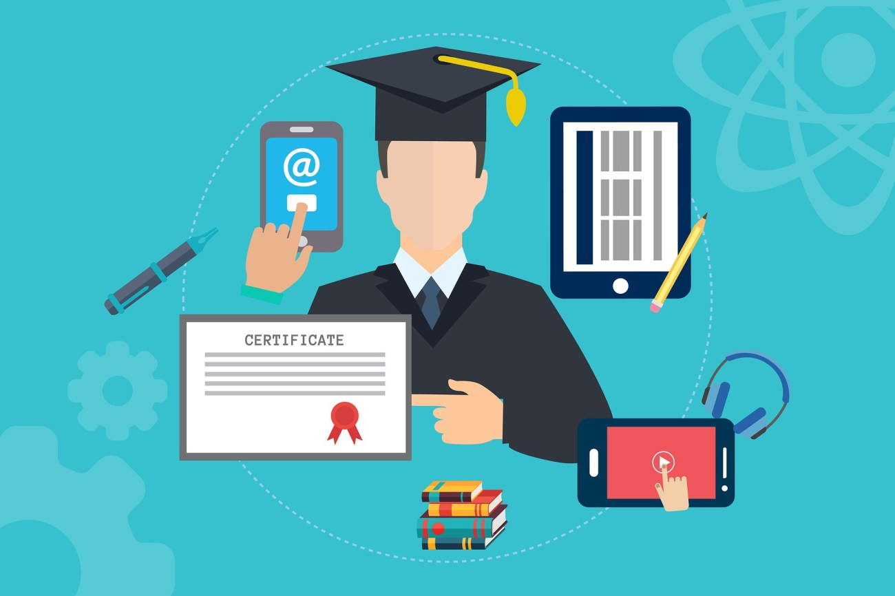 A student surrounded by gadgets: Mobile phone (cell phone), tablet, certificate and books. Feature image for Third Year University Promise.