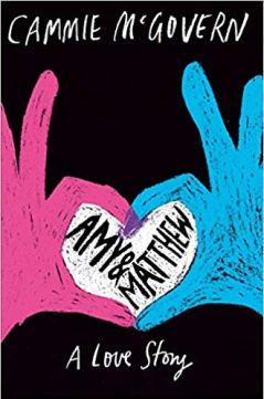 Book cover for Amy and Matthew. Two hands, one pink, one blue, meet and form a heart.