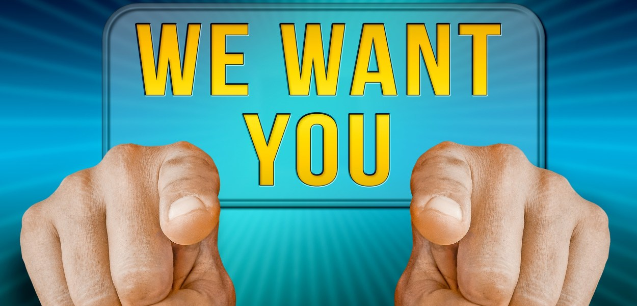 Job: We want you, two hands pointing towards viewer