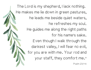 psalm 23:1-4 The Lord is my Shepherd