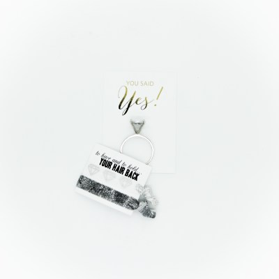 You said yes - diamond keychain - glitter hair ties - bridal - Little Shop of WOW