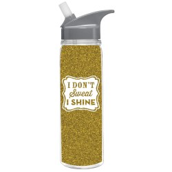 Drinkware - I don't Sweat I shine - Gold Glitter Bottle - Slant - Little Shop of WOW