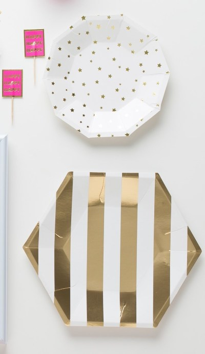 happy-birthday-babe-pret-a-party-box-little-shop-of-wow-adult-party-in-a-box-coral-pink-gold-gold-gold-stripped-and-starred-plates