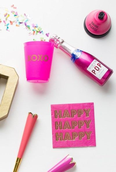 happy-birthday-babe-pret-a-party-box-little-shop-of-wow-adult-party-in-a-box-coral-pink-gold-gold-happy-foil-napkins-drink-please-bell-champagne-pink-xoxo-party-cup-confetti-pop