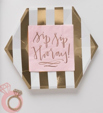 sip-sip-hooray-pret-a-party-box-little-shop-of-wow-bridal-shower-wedding-party-in-a-box-bride-to-be-pink-white-gold-sip-sip-hooray-gold-stripped-plate-diamond-drink-markers