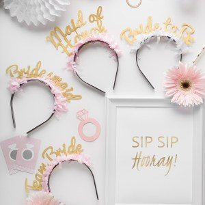 bridal pack - party up top headbands - Bracket -little-shop-of-wow-bridal-shower-wedding-party-in-a-box-bride-to-be-pink-white-gold-tassle-banner-headbands-team-bride-to-be-bridesmaid-maid-of-honor - Canada
