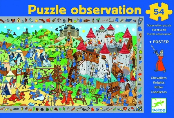 Box of knight observation puzzle showing a medieval battle