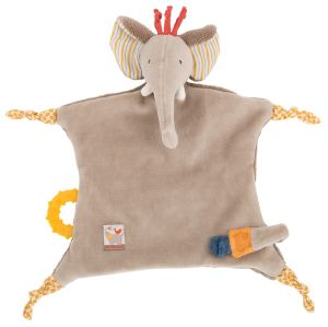 Les Papoum - Elephant comforter with teething ring
