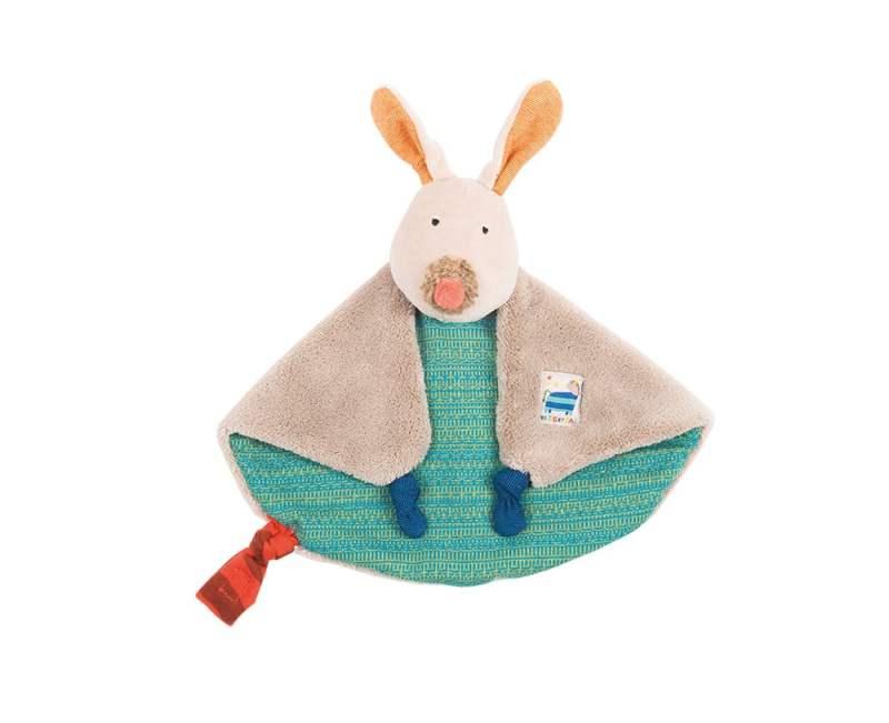 Les Zig et Zag blue dog comforter, baby toys, baby toy comforter, Moulin Roty toys Australia