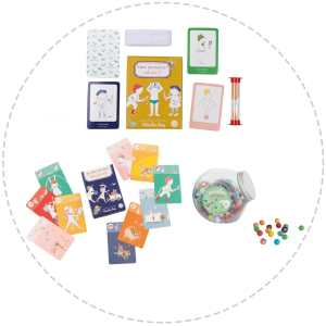 children's games gift pack - happy families, who am I, earthenware marbles