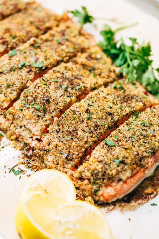 Crunchy Garlic Lemon Pepper Salmon Recipe - an easy weeknight friendly salmon recipe that has a crunchy panko crust on top! Healthy and delicious! #bakedsalmon #lemonpeppersalmon #roastedsalmon #breadedfish | Littlespicejar.com