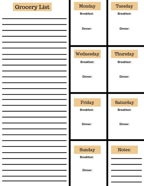 Weekly Meal Planning Worksheet w/ Grocery List