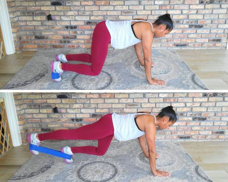 Bear Crawl Kick Backs with resistance band - resistance band exercises for abs