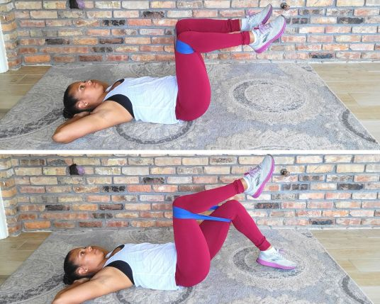 Alternating Toe Touches - Resistance Band Exercises for Abs