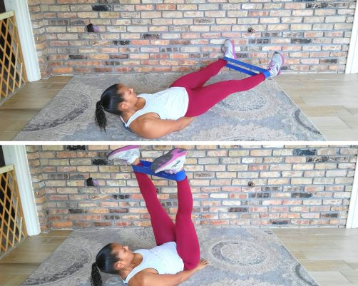 V Leg Lifts with resistance band - resistance band exercises for abs