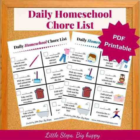 Daily homeschool chore chart - independence for kids
