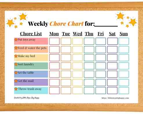 Stars Chore Chart for Toddlers