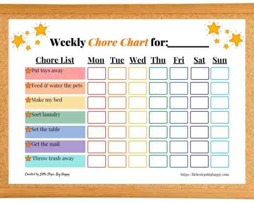 Teaching Independence in Preschoolers - Stars Chore Chart
