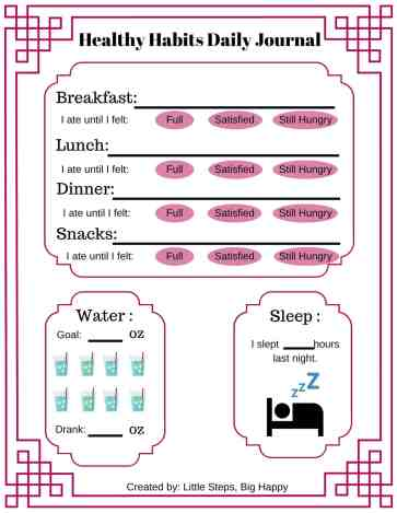 Healthy Habits Daily Food Journal