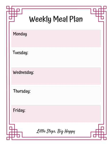 How to Keep a Food Journal - Weekly Meal Plan