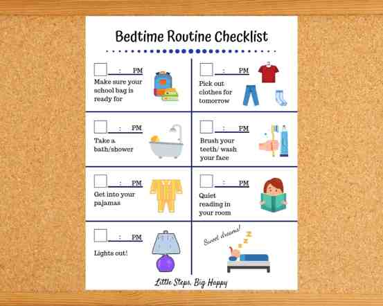Bedtime Routine Chore Chart for Toddlers