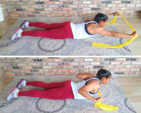 Superman row - Resistance band exercises for back and shoulders