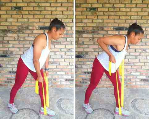 Bent over row - Resistance band exercises for back and shoulders