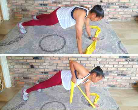 Plank row - Resistance band exercises for back and shoulders