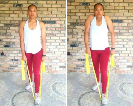 Shoulder shrug - Resistance band exercises for back and shoulders