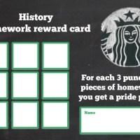 Homework rewards card