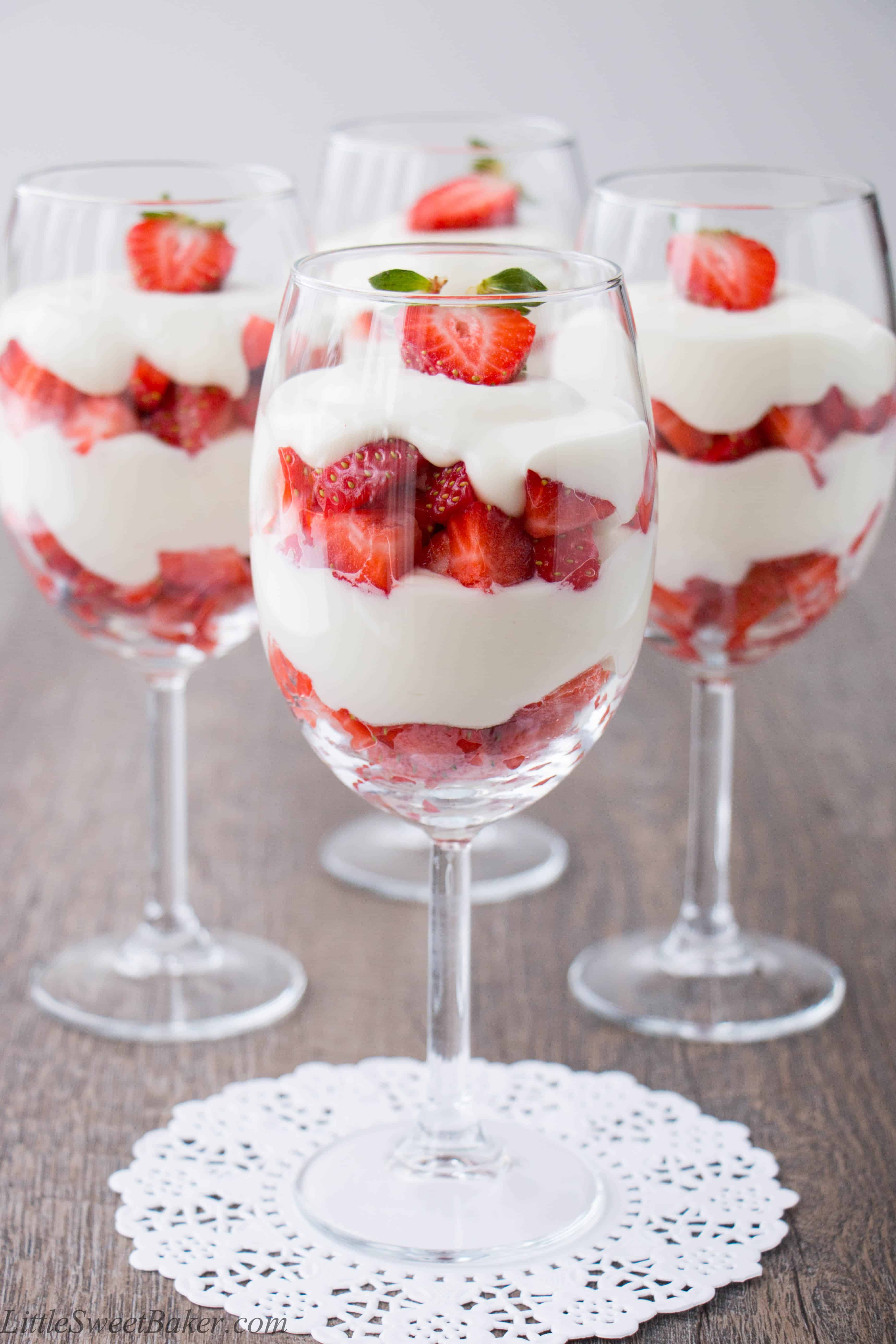 Strawberry White Chocolate Mousse Parfait - Little Sweet Baker