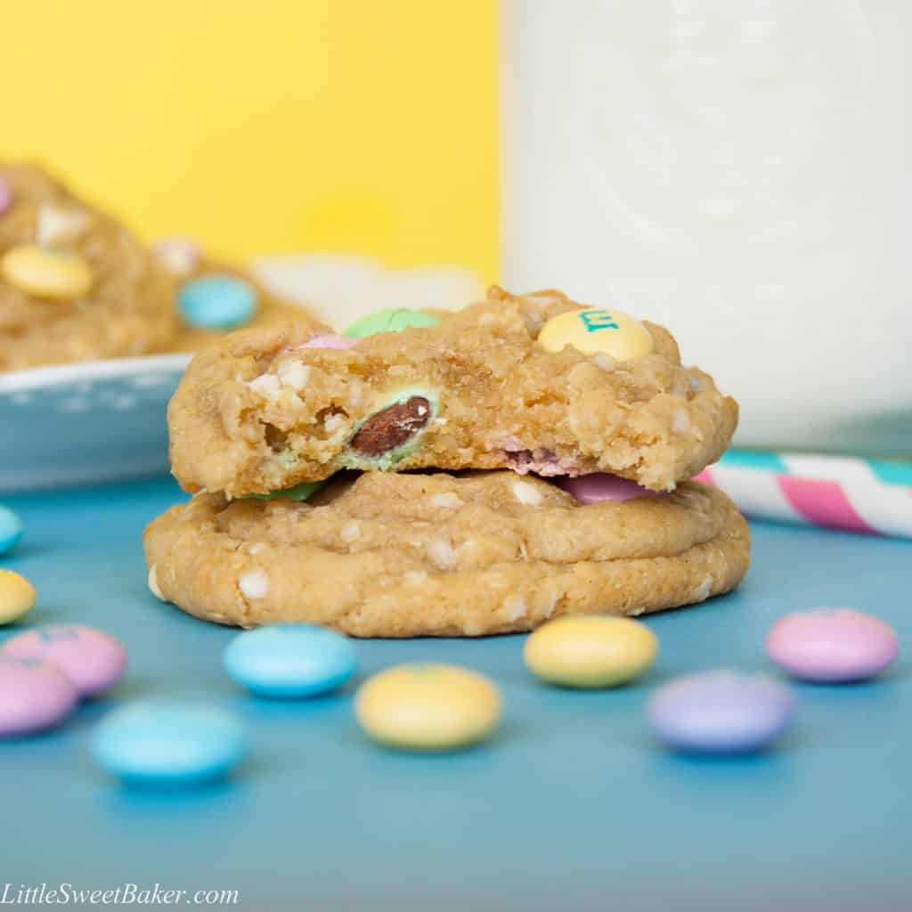 These delicious soft and chewy cookies are filled with crunchy M&M's and creamy white chocolate. These cute little cookies are perfect for Easter and Spring.