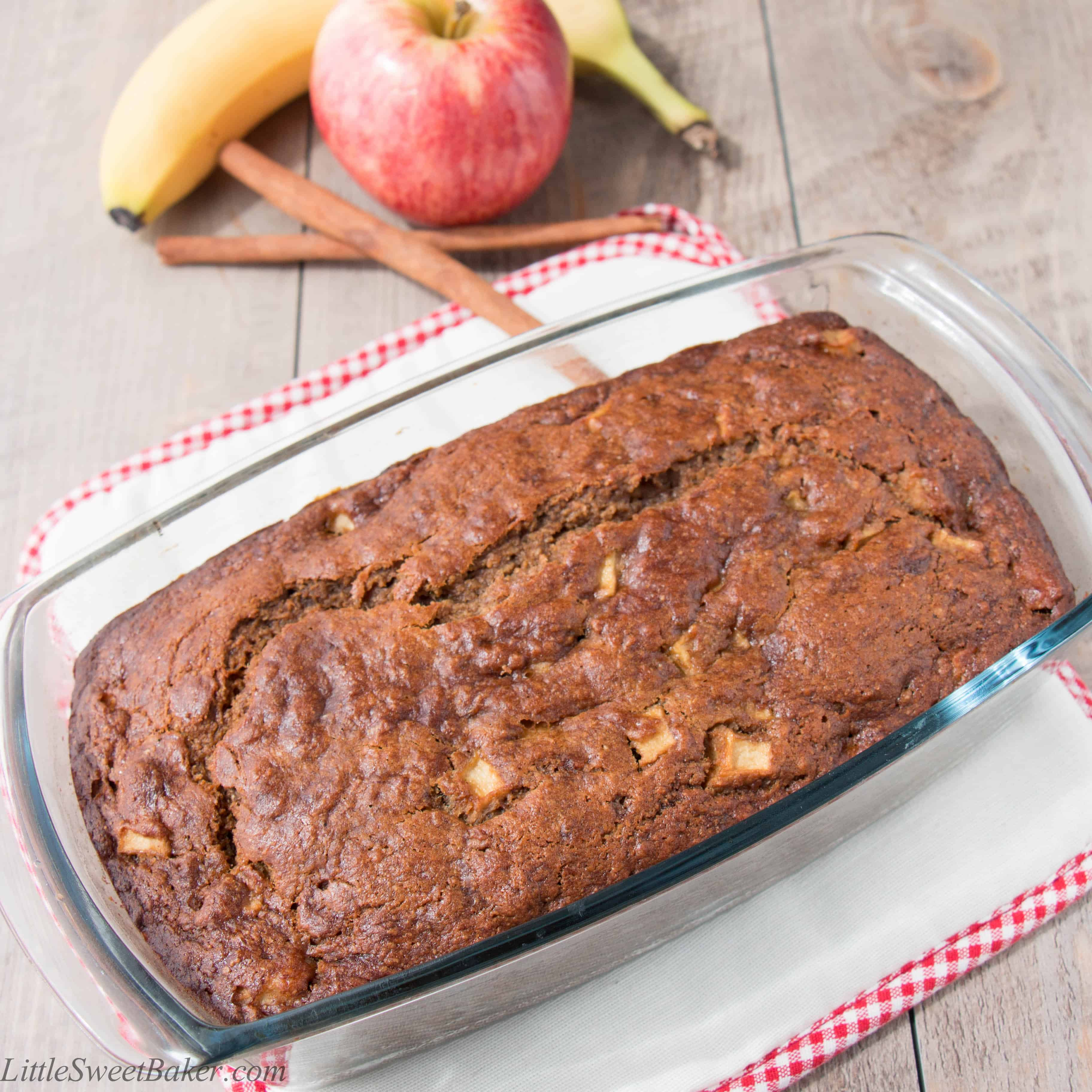 Healthy apple cinnamon banana bread video little sweet baker this recipe starts with whole wheat flour instead of white all purpose flour coconut oil instead of butter and coconut sugar instead of granulated sugar forumfinder Image collections