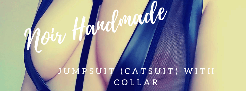 Noir Handmade Jumpsuit with collar (catsuit)