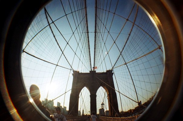 Brooklyn Bridge fisheye lens lomography film photography