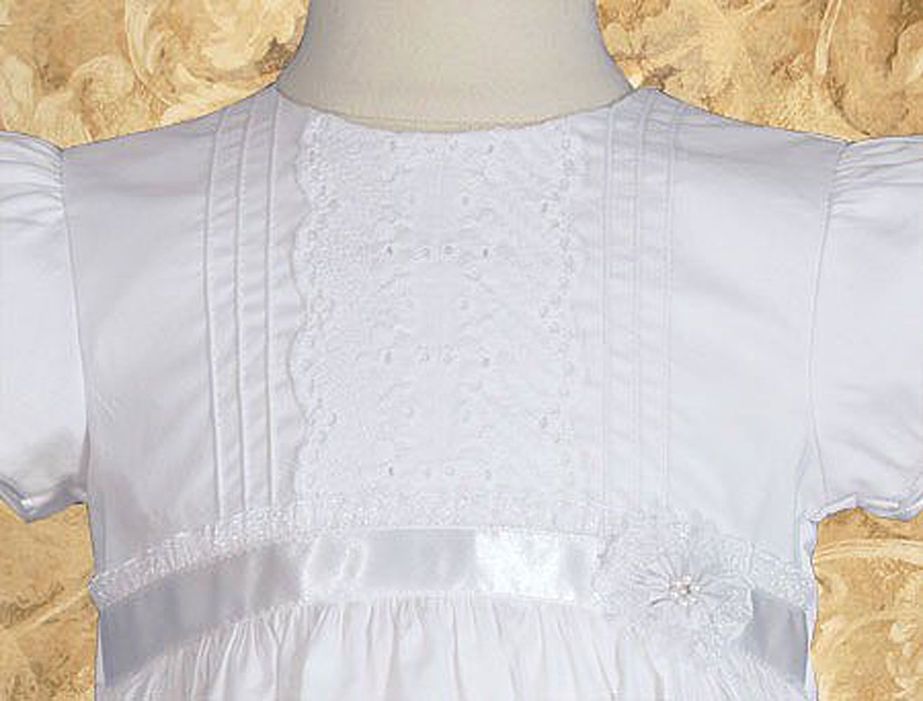 "Girls 24"" Cotton Dress Christening Gown Baptism Gown With"