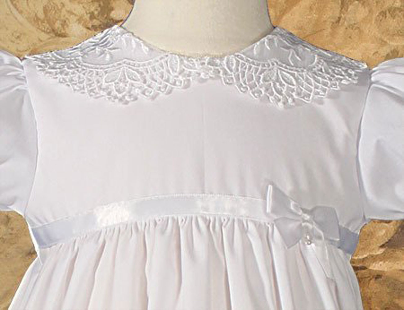 "Girls 24"" Poly Cotton Christening Baptism Gown With Lace"