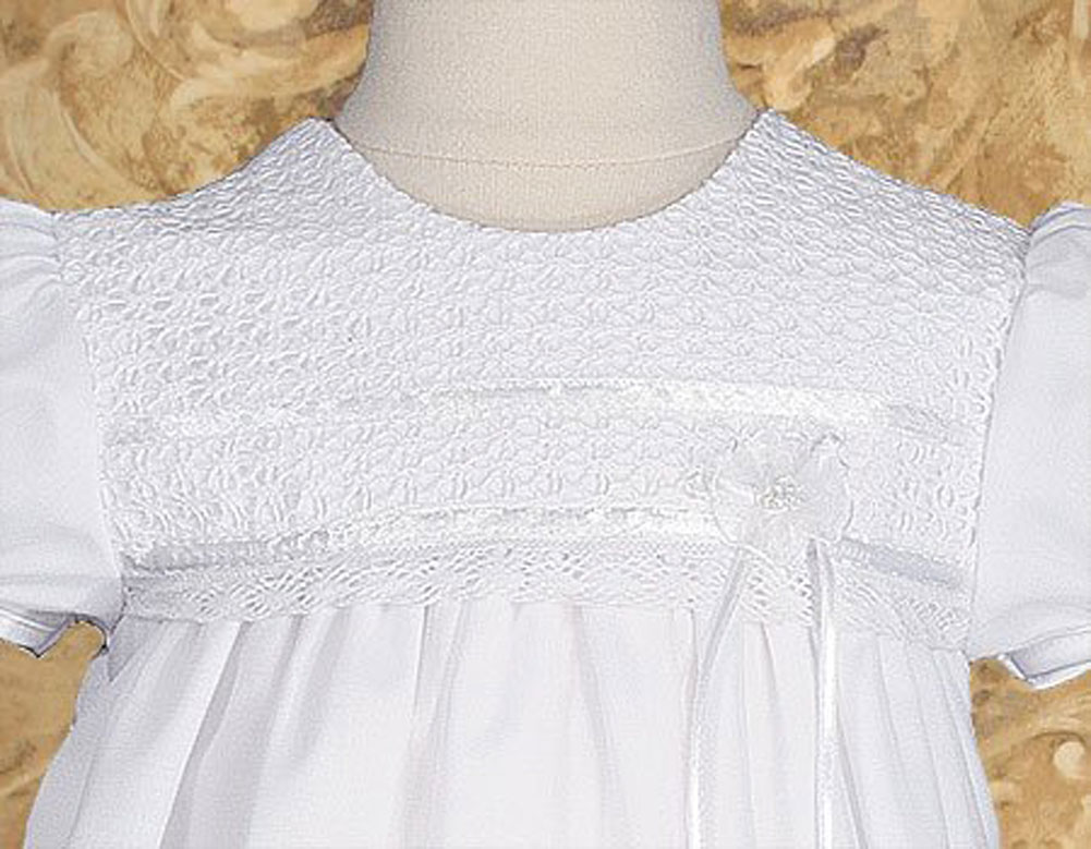 "Girls 25"" Tricot Overlay Christening Baptism Gown With"