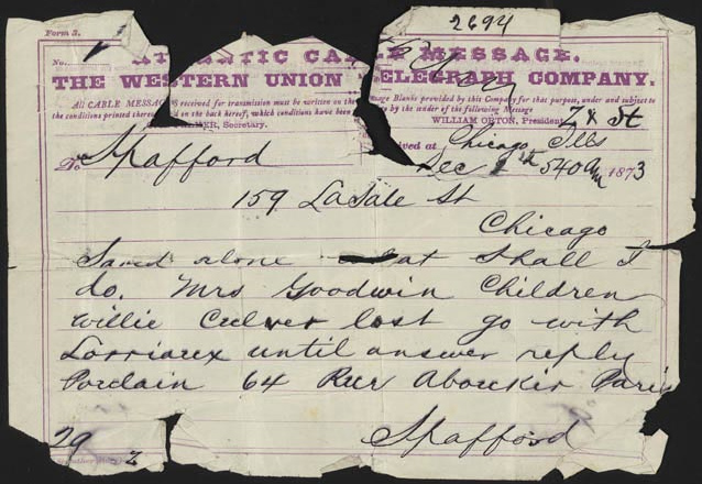 Telegram from Anna Spafford
